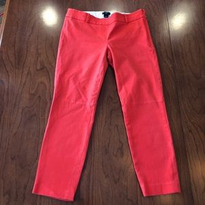 J. Crew Coral Cropped Stretch City Fit Pant